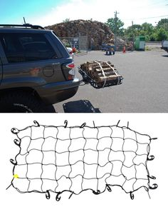 Tie down stretch net with large hooks that are easy to handle, and the stretch net works to accommodate most cargo and works with any carrier for camping and traveling. Compatible with the Honda Odyssey.