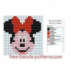 Disney Minnie Mouse face free Hama Beads Pyssla pattern for children 24 x 24 5 colors