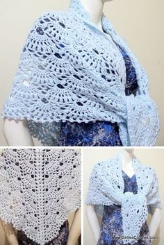 This is an easy and free crochet pattern for Wings of Prayer Shawl.This is a gorgeous shawl in fan design stitch that compliments the design as it gets bigger. The concept of the wing design becomes more obvious when you view the shawl from the back. Prayer Shawl Crochet Pattern, Prayer Shawl Patterns, Crochet Prayer Shawls, Crochet Shawl Free, Crochet Poncho Patterns, Crochet Shawls And Wraps, Knit Or Crochet, Crochet Vests, Crochet Shirt