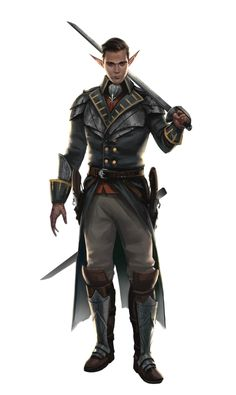 Male Elf Officer Warrior - Pathfinder PFRPG DND D&D 3.5 5th ed d20 fantasy