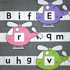 helicopter letter sliders for preschool and kindergarten