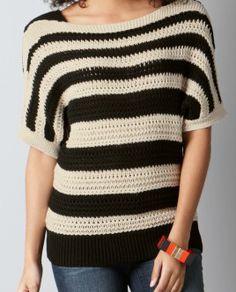 Drapey Textured Stripe Sweater   from Loft.com