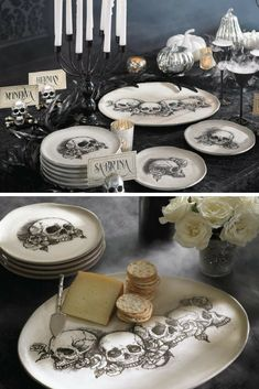 Serve up your eerie appetizers and devilish desserts with a side of artful style using these Sketched Skull Plates. #ad #halloween #halloweendecor #skulls