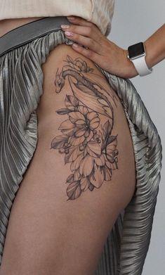 Dope Tattoos, Pretty Tattoos, Body Art Tattoos, Hand Tattoos, Small Tattoos, Tatoos, Dragon Tattoo Hip, Dragon Tattoo For Women, Dragon Tattoo With Flowers
