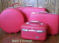 e8cc45ccd A four-piece set of pink American Tourister Tiara luggage, probably from  the late