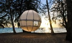 The Cocoon Tree is a spherical structure assembled from pieces of aluminum and waterproof canvas that you can hang just about anywhere using a combination of cords for suspension and lateral stability. It's essentially a giant ball tent that you can hang from nature's canopy to enjoy the environment…