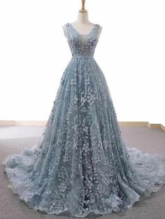 Blue Gray Lace Sleeveless Long Pageant Prom Dress, Court Train Evening Dress Blue Gray Lace Sleeveless Long Pageant Prom & Cutedress The post Blue Gray Lace Sleeveless Long Pageant Prom Dress, Court Train Evening Dress appeared first on Jennifer Odom. Lace Evening Gowns, Lace Ball Gowns, Blue Evening Dresses, Elegant Prom Dresses, A Line Prom Dresses, Ball Dresses, Pretty Dresses, Wedding Dresses, Long Dresses