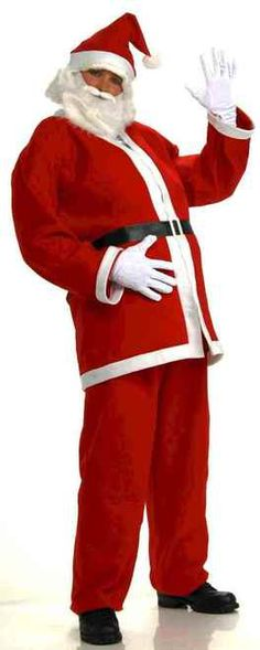 "Simply Santa Costume and Accessory Kit - Standard Size: (up to chest 42"")  Simply Santa Suit and accessories includes:  Hat Beard with Mustache  Jacket Belt  Pants   #yyc #costume #santa #christmas"