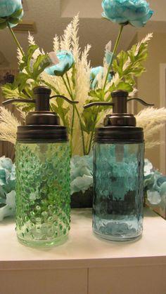 Tall Mason Jar Hobnail Effect Soap Dispenser with Bronze Pump #Mason