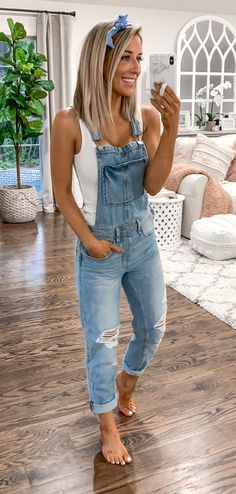 blue overall pants #summer #outfits