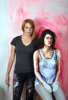 Alexa Meade/this is the artist and her real model made to look like a painting!