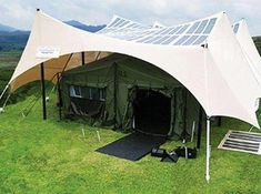 Solar-Powered Tent  Flexible photovoltaic cells generate 800 watts of electricity on a roughly 16-by-20-foot surface. This could enable the charging of gadgets, night vision goggles and more without the need for a generator. It could also come in handy in the case of natural disaster response.