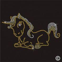 Iron On Diamante Motif BABY UNICORN Rhinestone Transfer Hotfix Gem Crystal Patch