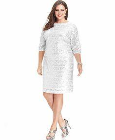 Calvin Klein Plus Size Dress Three Quarter Sleeve Sequin Lace Shift Plussizedresses