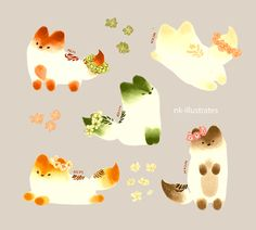 Thai Tea, Matcha, and Milk Tea Foxes     © 2016 Nadia Kim     *In Progress*                                                           Matc...