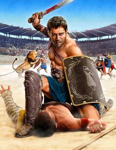 Spartacus the gladiator in the ring