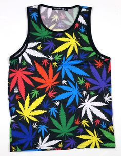 4c86ddb8f7a8ff Kayden K Men s Sublimation Tank Top All Over Print Colorful Marijuana Leafs