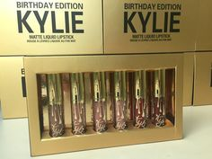 Kylie Jenner Birthday Edition Gold Matte Liquid Lipstick Lip Kit Free Shipping #KylieJenner