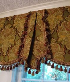 Valances For Wide Windows. large scale damask with tassel trim. traditional window treatment