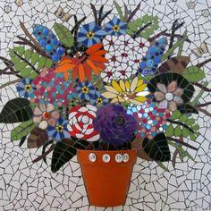 saic still life, flowers in pot. handmadebyhippo on Etsy