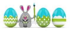 3d rendering of Easte bunny with painted eggs — Stock Photo © ayo888 #146445307