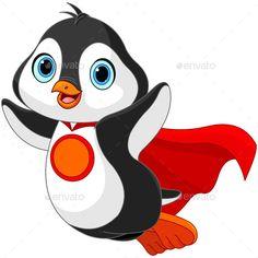 Buy Super Penguin by Dazdraperma on GraphicRiver. Illustration of Super Hero Penguin. Penguin Clipart, Penguin Cartoon, Cartoon Birds, Baby Cartoon, Penguin Illustration, Medical Illustration, Happy Penguin, Penguin Drawing, Baby Penguins