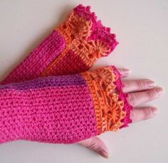 Pink purple crochet gloves with lace trim