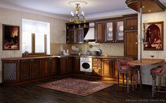Traditional Dark Wood-Golden Kitchen Cabinets #14 (Kitchen-Design-Ideas.org)