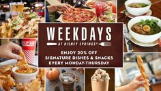 Weekdays at Disney Springs offers special 20% discounts on select menu items at 20 dining locations throughout Disney Springs Monday-Thursday each week through October 29, 2020 #DisneySprings #DisneyWorld #WeekdaysatDisneySprings Downtown Disney, Disney Parks, Walt Disney, Chicken Pizza, Breaded Chicken, Disney Springs, Banana Split, Food Trucks, Tex Mex