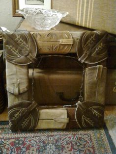 recycled cowboy boot top picture frame/mirror