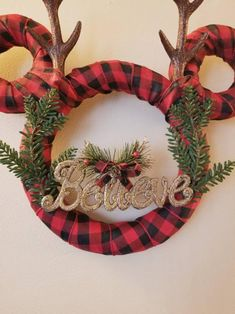 Disney Christmas Buffalo Plaid Wreath with Reindeer Antlers Buffalo plaid is taking over the holidays this year! This Christmas Buffalo Plaid Wreath with Reindeer Antlers is the perfect piece for brightening up stuff Potted Christmas Trees, Ribbon On Christmas Tree, Christmas Card Crafts, Christmas Wreaths, Christmas Ornaments, Mickey Christmas, Deco Noel Disney, Disney Christmas Decorations, Disney Holidays