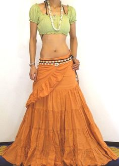 Hippie Outfits, Dance Outfits, Skirt Outfits, Bohemian Style Clothing, Gypsy Style, Gypsy Clothing, Boho Gypsy, Flamenco Skirt, Big Skirts