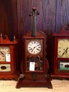 """Eight Day Time and Strike Violin Clock On Sale   32"""" High x 14"""" Wide x 6"""" Deep   Was $550 Sale Price $413  Other Clocks, Dealer #021 Also On Sale!  Dealer #021  Lost. . .Antiques 1201 N. R"""
