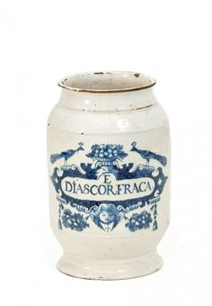 Jarre Pharmacie (18th C).      'E/DIASCOR FRACA'. Height 28cm.