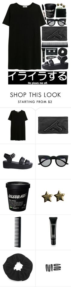 """""""back to black"""" by rachelgasm ❤ liked on Polyvore featuring MANGO, Vlieger & Vandam, Nude, Retrò, Sharpie, GHD, MAC Cosmetics and CASSETTE"""