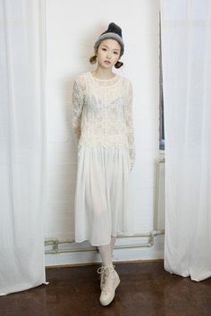 Sheer Long Dress Ivory