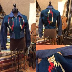 Blue on Blue 1940's Ganscraft Native Woven Chimayo Jacket