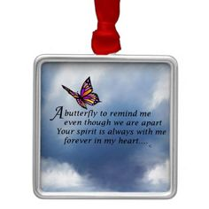Butterfly Memorial Poem Christmas Ornaments