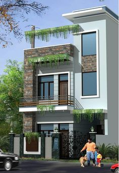 Construction / civil work: houses by s. buildtech – the gharexperts Asian houses photos: construction / civil work 2 Storey House Design, Duplex House Design, House Front Design, Small House Design, Cool House Designs, Modern House Design, Modern House Plans, Independent House, Front Elevation Designs