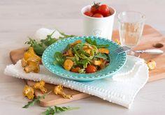Spinat Tagliatelle mit gebratenen Pfifferlingen, Tomaten und Ruccola #homeeathome #veggie #freshpasta Vegetarian Meals, Spinach, Carne Asada, Easy Meals