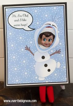 Free Printable Elf on the Shelf Frozen Photo Shoot Backdrops - Anna, Elsa, Kristoff, Sven, and Olaf all available
