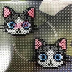 Cats perler beads by imbpixel Perler Bead Designs, Hama Beads Design, Diy Perler Beads, Perler Bead Art, Pearler Beads, Fuse Beads, Pearler Bead Patterns, Perler Patterns, Loom Beading