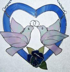 ♥•✿•♥•✿ڿڰۣ•♥•✿•♥ ♥   Wedding or Anniversary Stained Glass Heart with two Doves and Flower  ♥•✿•♥•✿ڿڰۣ•♥•✿•♥ ♥