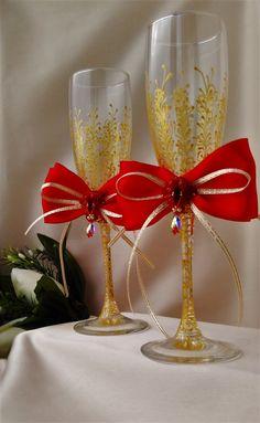 redchampagne flutes Wedding Toasting Flutes от WeddingArtGallery