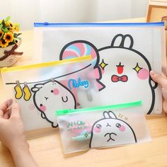 Cute Molang Rabbit PVC A4 A5 B6 File Bag Document Bag File Folder Stationery Filing Production School Office Supply #women, #men, #hats, #watches, #belts, #fashion, #style
