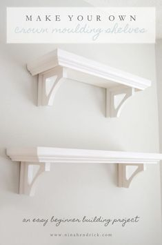 DIY Crown Moulding Shelves   Learn how to make these easy crown moulding shelves from @nina_hendrick. They are perfect for kitchen storage and seasonal displays. This is a great beginner building project! #shelving #shelves #diy #projects