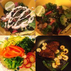 Steak and shrimp yumm bowls!! Brown rice, quinoa, black beans, veggies, steak+shrimp, cilantro lime ranch and verde salza.