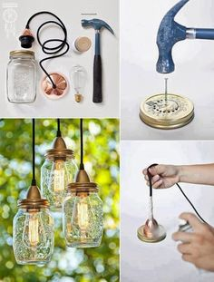Make your own hanging lights with mason jars Mason Jar Lighting, Mason Jar Lamp, Mason Jar Chandelier, Diy Mason Jar Lights, Mason Jar Crafts, Bottle Crafts, Decor Crafts, Diy Home Decor, Creation Deco