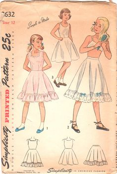 Simplicity 2632, Girls Slip and Petticoat: In Style 1, the dart fitted bodice joins the skirt at the natural waistline. Lace edging trims the shaped