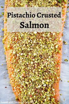 With a few simple ingredients and less than 30 minutes, this Pistachio Crusted Salmon is both an easy and quick option for a weeknight dinner and also an elegant main for a dinner party. Whole Food Recipes, Cooking Recipes, Healthy Recipes, Healthy Food, Salmon Recipes, Seafood Recipes, Mediterranean Diet Recipes, Fish And Seafood